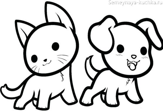 раскраска на 2 года котик и щенок
