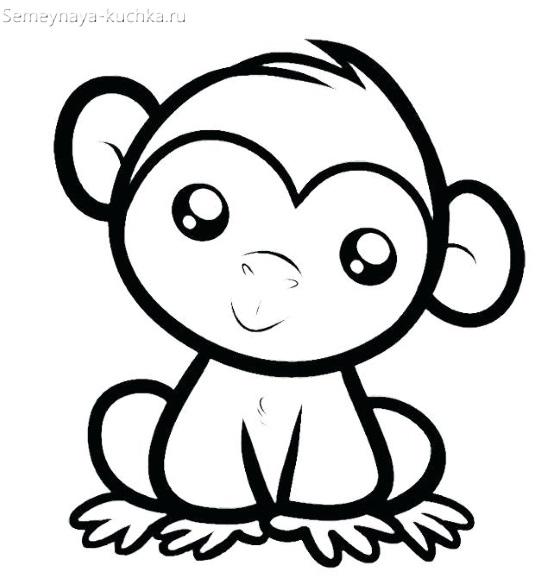 раскраска на 2 года обезьяна
