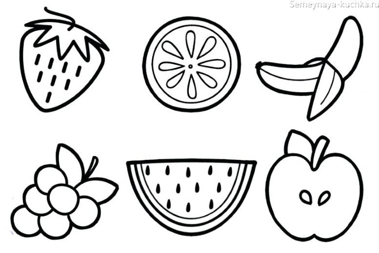 фрукты раскраска на 2 года