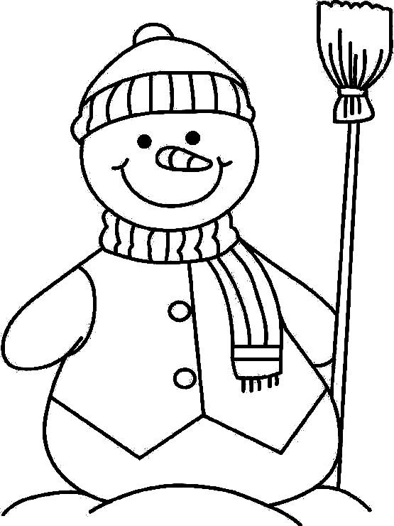 раскраска на 2 года снеговик