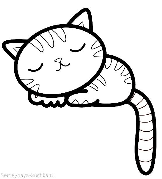 раскраска на 2 года котик спит