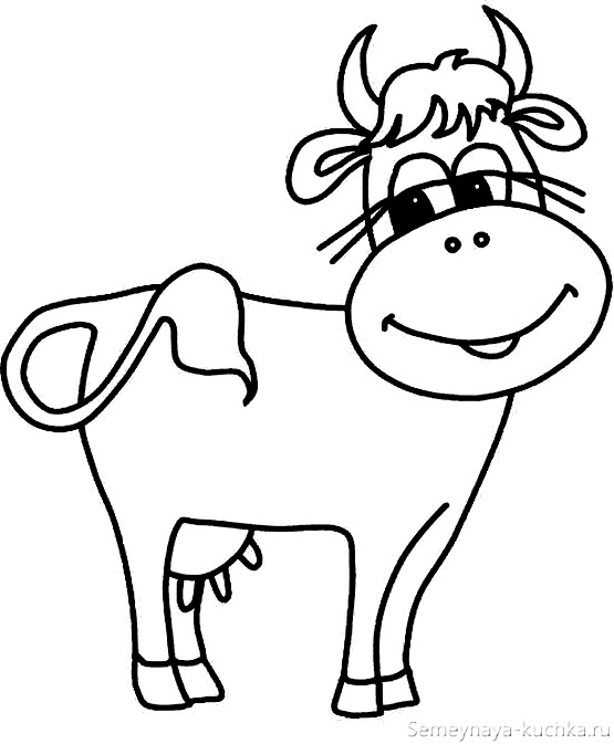 раскраска на 2 года корова