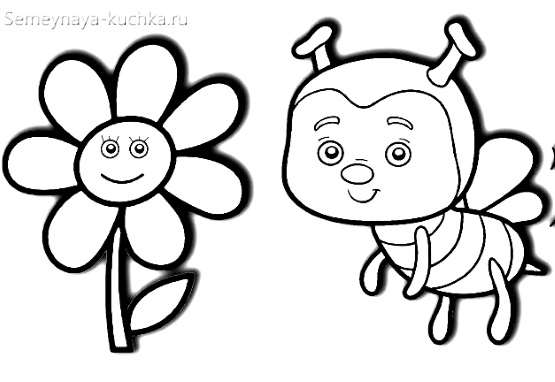 раскраска на 2 года пчелка
