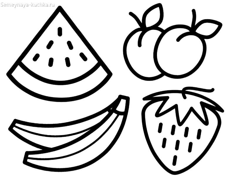 раскраска фрукты на 2 года