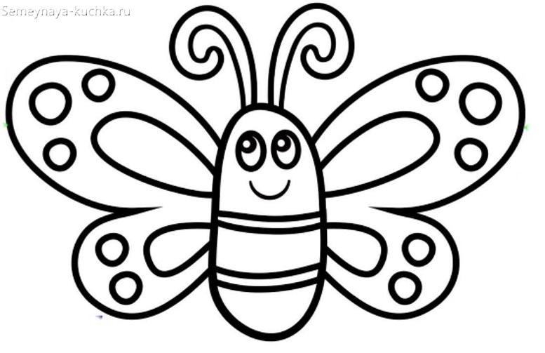 раскраска бабочка на 2 года