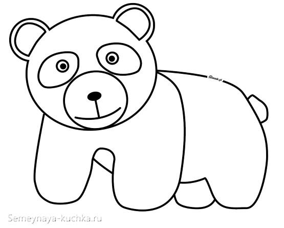 шаблон слоеный медведь панда