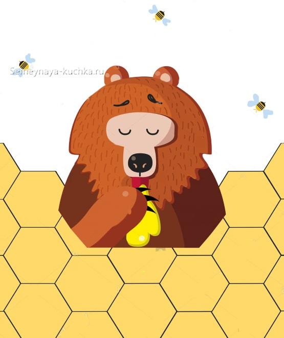 аппликация мишка есть мед для детей