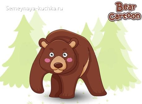 слоеная аппликация злой медведь в лесу для средней группы