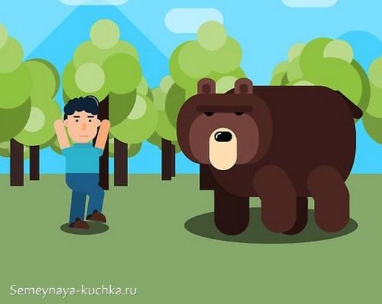 аппликация шаблон медведь в лесу