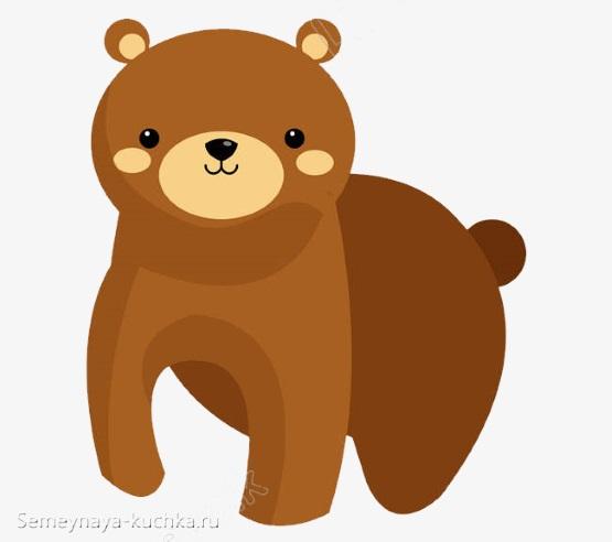 аппликация слоеная медведь из цветной бумаги
