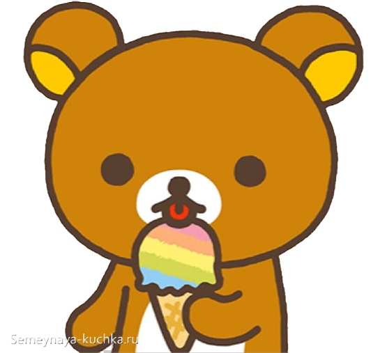 аппликация шаблон мишка есть мороженое для малышей
