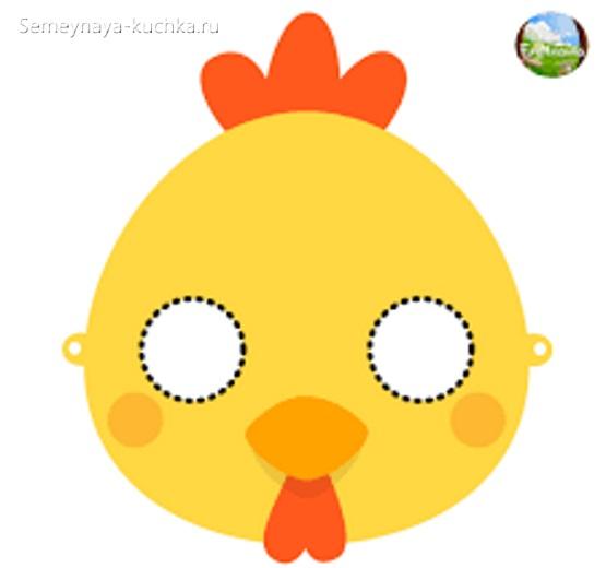 новогодние маски цыпленок шаблон