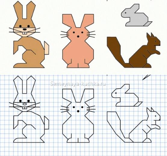 графический диктант заяц и белка