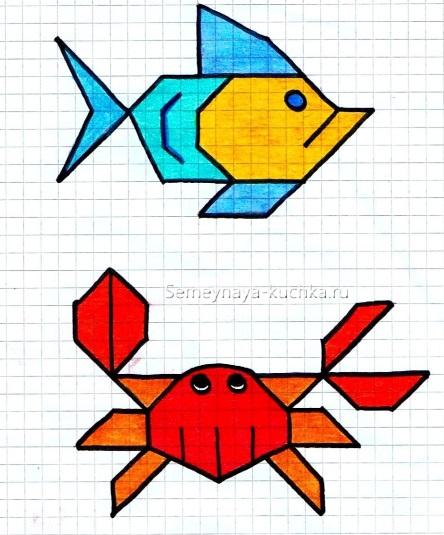 графический диктант рыба и краб
