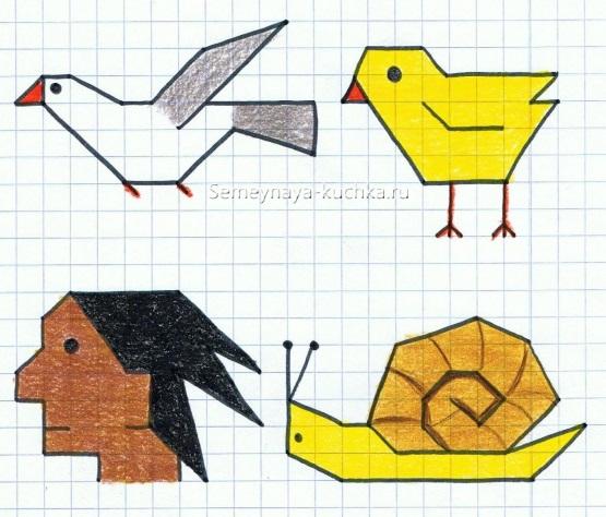 графический диктант птица, цыпленок, улитка, индеец для начинающих дошкольников