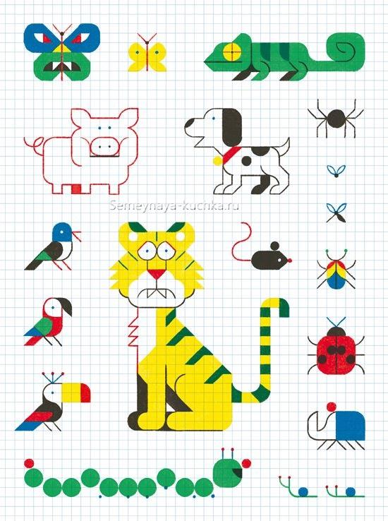 рисование по клеточкам идеи для графических диктантов с детьми