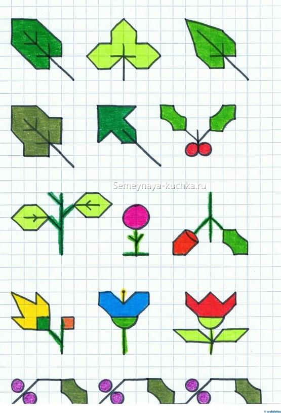 цветы по клеточкам для графического диктанта