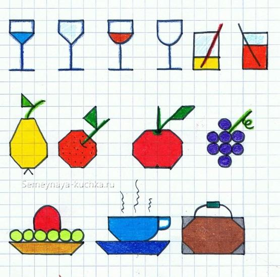 графический диктант продукты питания для начинашек