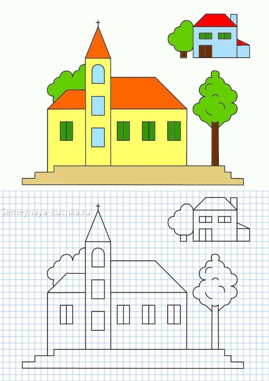 дом и дерево графический диктант