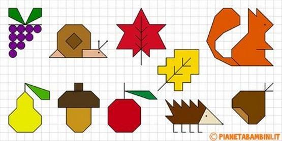 осенний графический диктант ежик желудь улитка листья яблоко