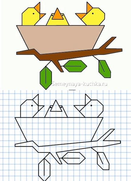 графический диктант со сложными элементами