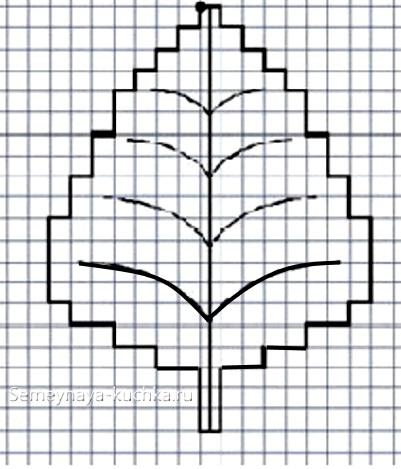 крупный графический диктант лист дерева
