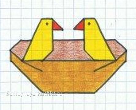 интересный графический диктант птицы в гнезде