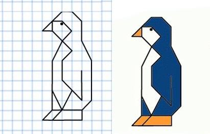 графический диктант сложный пингвин для старших детей