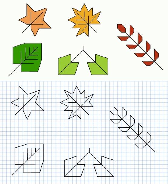 осенний графический диктант с листьями