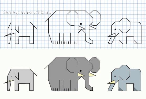 графический диктант слоны по клеточкам