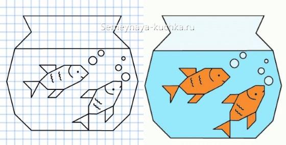 графический диктант аквариум с рыбками