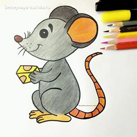 мышка нарисовать карандашом