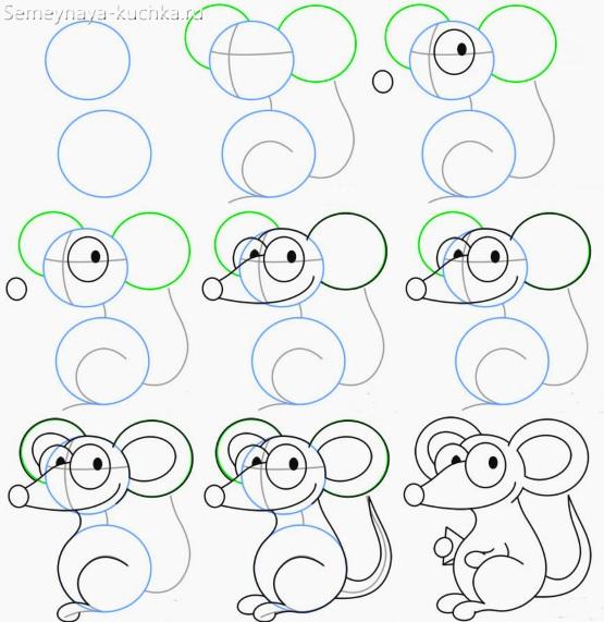 пошаговый мастер класс нарисовать мышь