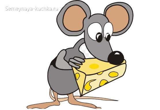 как нарисовать смешную мышку с сыром