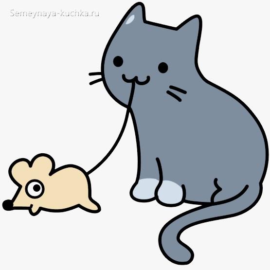 как нарисовать мышку и кота