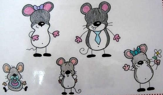 как нарисовать семью мышек карандашом