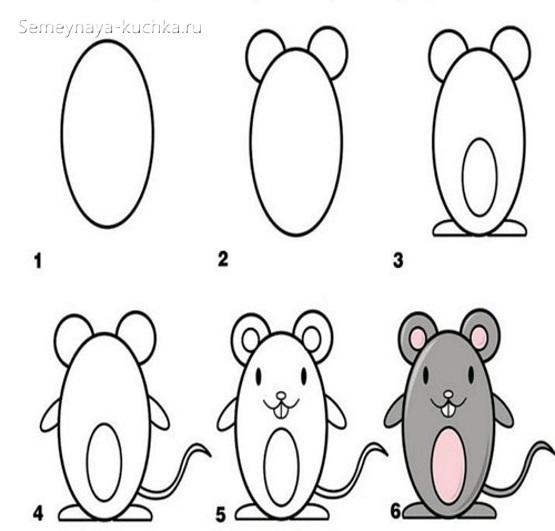 детский урок рисование мыши
