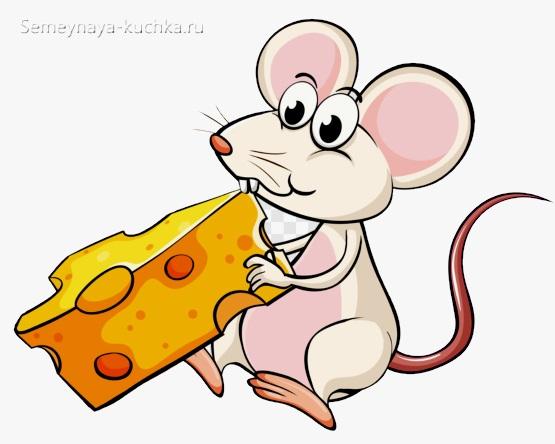 рисунок мышки с сыром