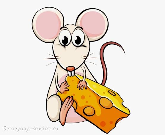 мышь держит сыр рисунок карандашом