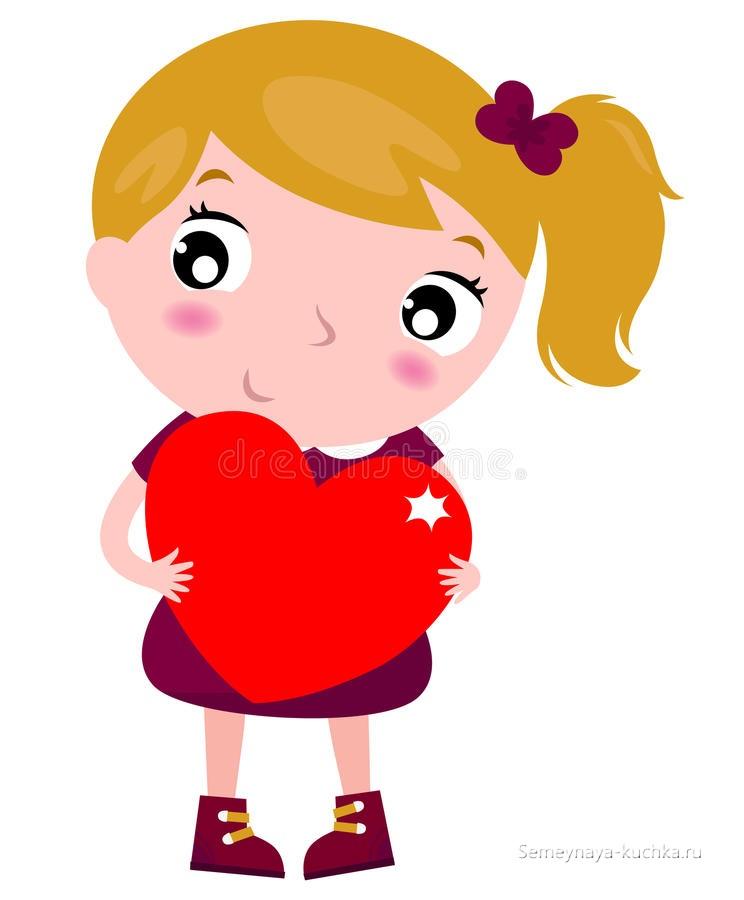 картинка девочка держит сердце