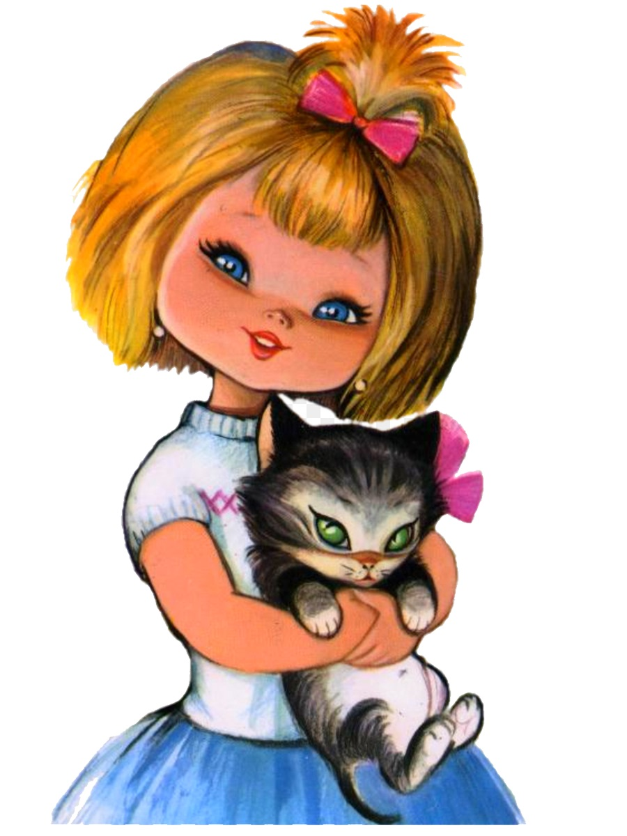 картинка девочка держит кота