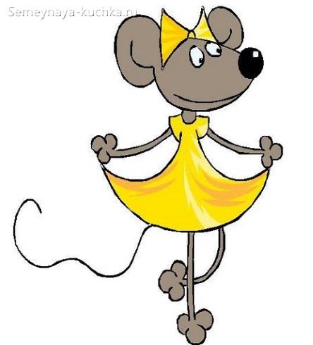 мышь девочка простой рисунок
