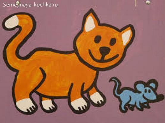 кот и мыши рисунок детский красками