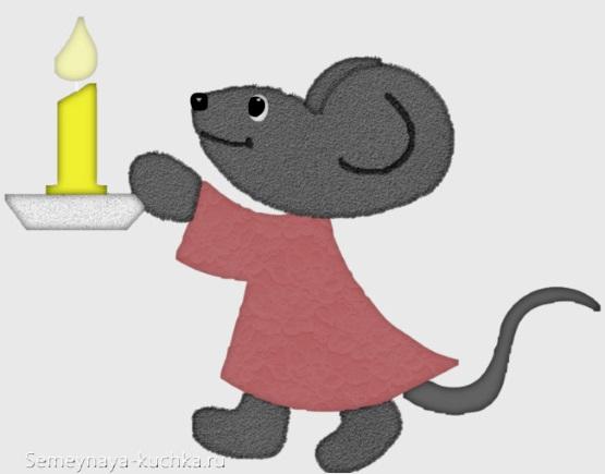 картинка мышь девочка в платье держит свечку