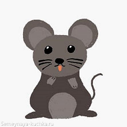 милая серая мышка графика картинка