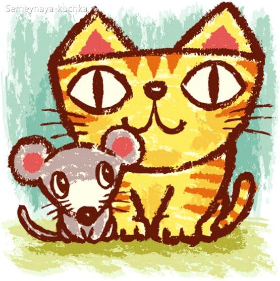 простой способ нарисовать мышку и кошку