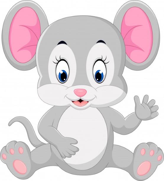 картинка рисунок мышка с розовыми ушами