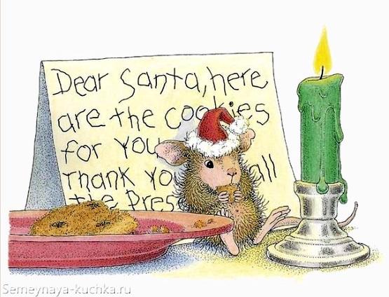 новогодняя мышка рисунок картинка