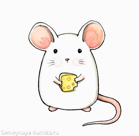 белая мышка с сыром