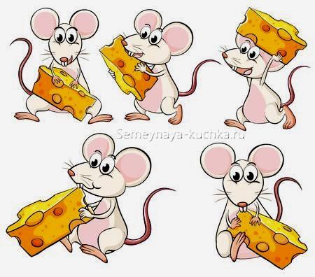 5 рисунков с мышкой и сыром